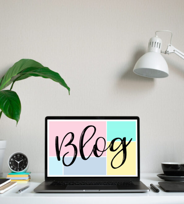 Blogging,blog concepts ideas with computer laptop on worktable.business creativity and inspiration images